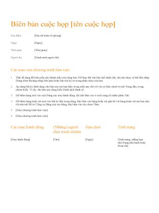 Biên bản cuộc họp (Thiết kế màu cam)