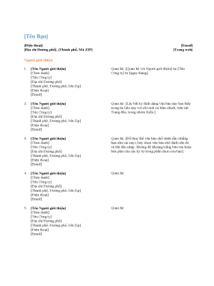 Danh sách người giới thiệu cho hồ sơ cá nhân (Thiết kế theo chức năng)