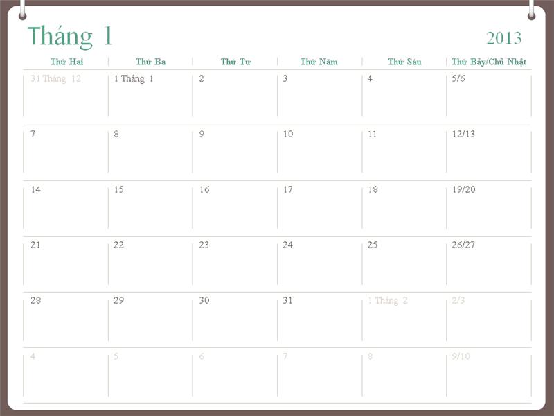 Thiết kế lịch 2013 (thứ Hai-Chủ Nhật) hai vòng