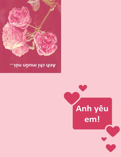 Tấm thiệp lãng mạn (gập tư)
