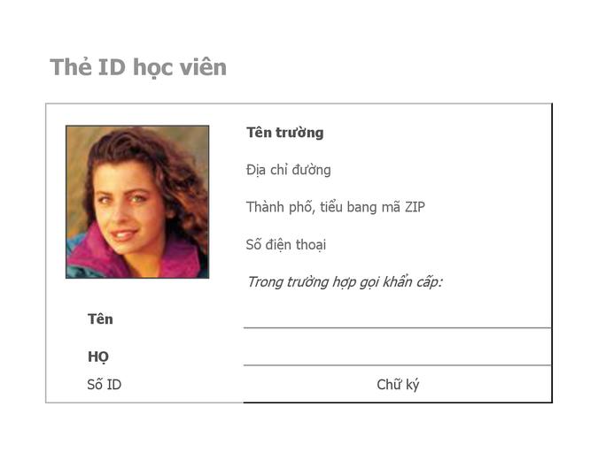 Thẻ nhận dạng học viên