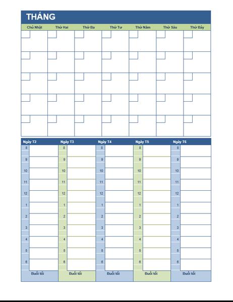 Lịch dành cho lập kế hoạch hàng tháng và hàng tuần