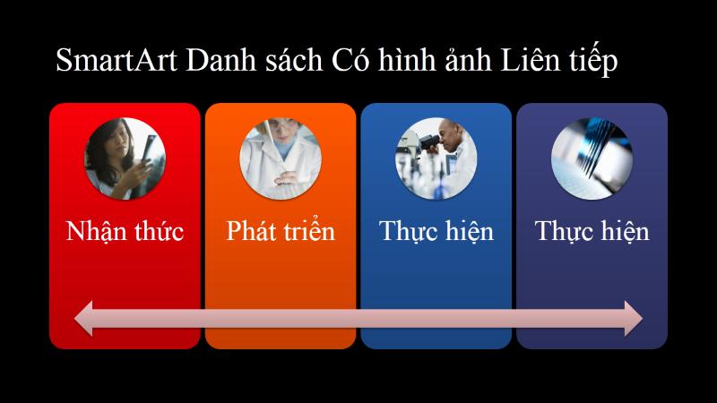 Bản chiếu SmartArt cho Danh sách Ảnh liên tục (nhiều màu trên nền đen), màn hình rộng