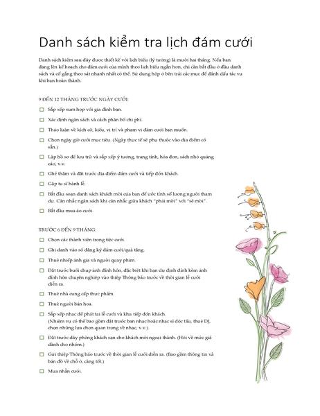 Danh sách những mục cần kiểm tra cho Đám cưới (màu nước)