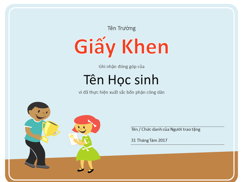 Giấy Khen (Học sinh tiểu học)