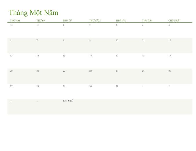 Lịch năm bất kỳ (mỗi tab 1 tháng)