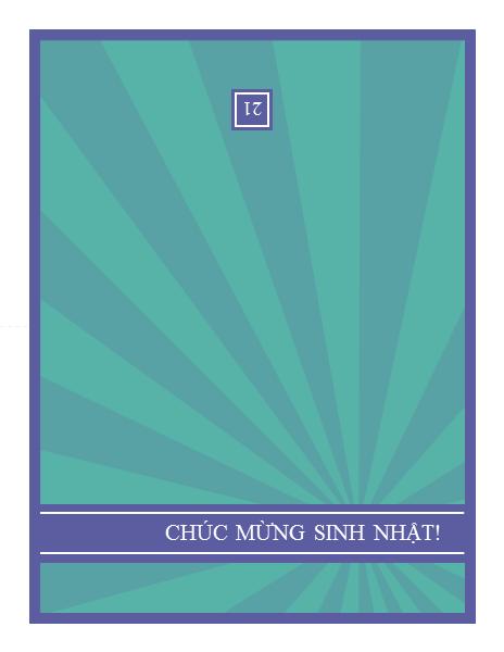 Thiệp sinh nhật đánh dấu những cột mốc trong đời với thiết kế các tia màu xanh lam trên nền xanh lục