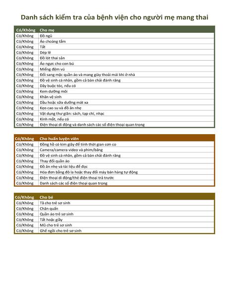 Danh sách kiểm tra của bệnh viện cho người mẹ mang thai