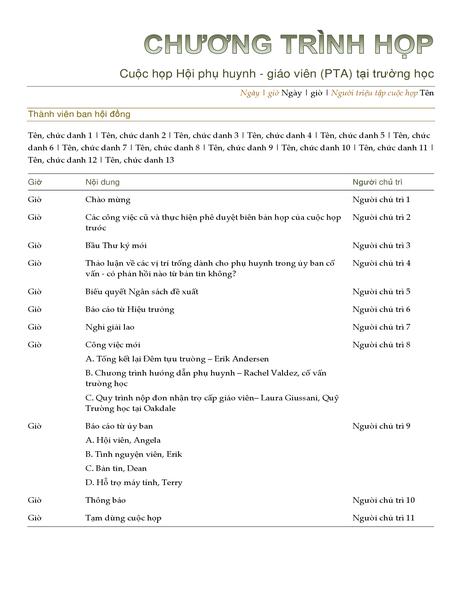 Lịch công tác Hội phụ huynh - giáo viên (PTA)