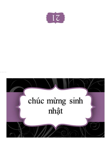 Thiệp sinh nhật (thiết kế hình ruy-băng màu tím)