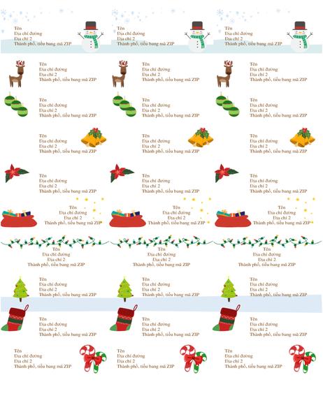 Nhãn thẻ quà tặng (Thiết kế mang không khí Giáng sinh, 30 nhãn mỗi trang, phù hợp với Avery 5160)