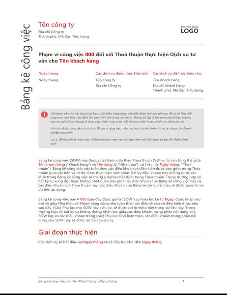 Báo cáo công việc (Thiết kế màu đỏ)