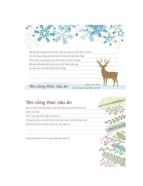 Thiếp công thức nấu ăn (Thiết kế mang không khí Giáng sinh, phù hợp với Avery 5889, 2 thiếp mỗi trang)