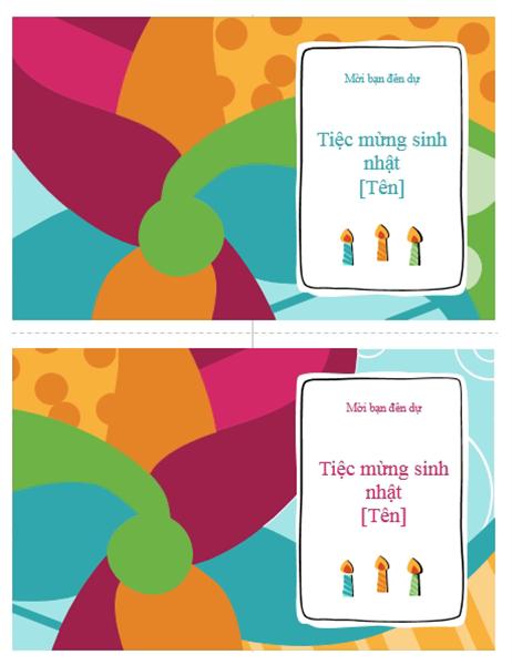 Thiệp mời dự tiệc sinh nhật (mỗi trang 2 thiệp, thiết kế Tươi sáng)