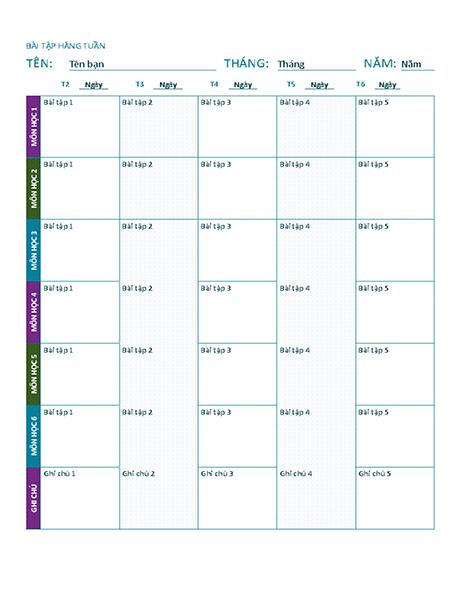 Trang bài tập hàng tuần (màu)