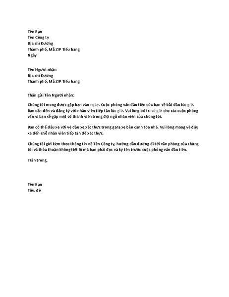 Thư xác nhận phỏng vấn xin việc của ứng viên