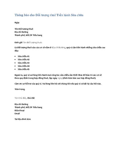 Thông báo cho đối tượng thuê tiến hành sửa chữa (thư biểu mẫu)