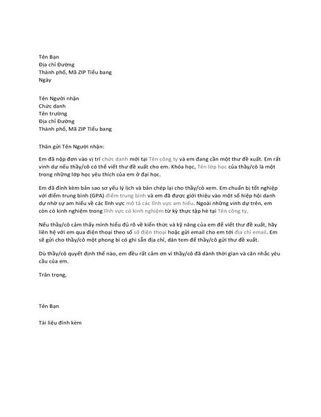 Thư gửi đến giáo sư yêu cầu thư đề xuất vị trí công việc