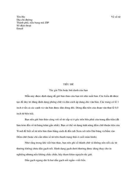 Định dạng bản thảo câu chuyện