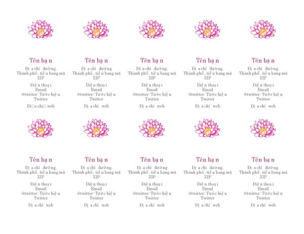 Danh thiếp cá nhân hình bông hoa (hướng dọc)