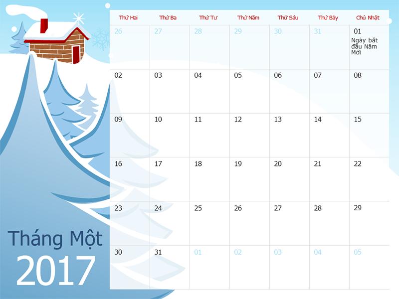 Lịch 2017 minh họa theo mùa (T2-CN)
