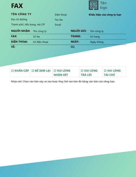 Trang bìa fax (thiết kế Chuyển màu lục)
