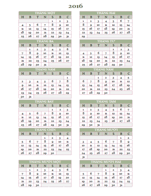 Lịch năm 2016-2025 (Thứ Hai-Chủ nhật)