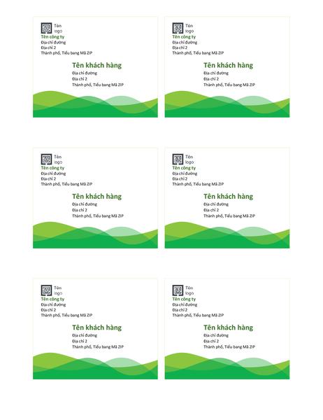 Nhãn gửi (thiết kế Sóng màu lục, 6 nhãn một trang)