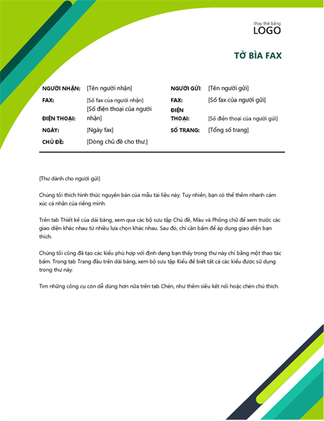 Trang bìa fax dạng hộp hiện đại