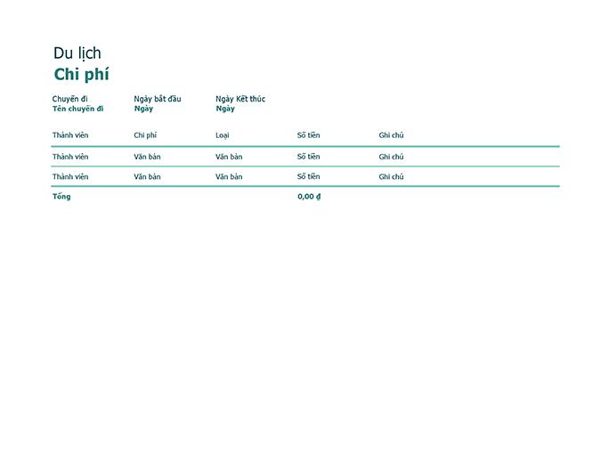 Bảng theo dõi chi phí đi lại
