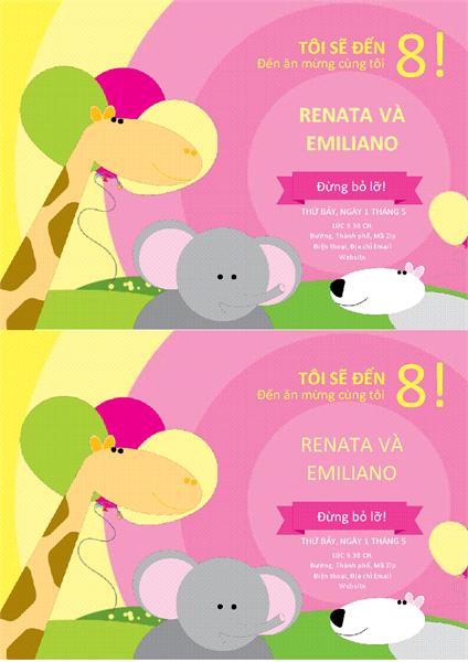 Thiệp mời sinh nhật (thiết kế cho trẻ em, 2 thiệp trên mỗi trang)