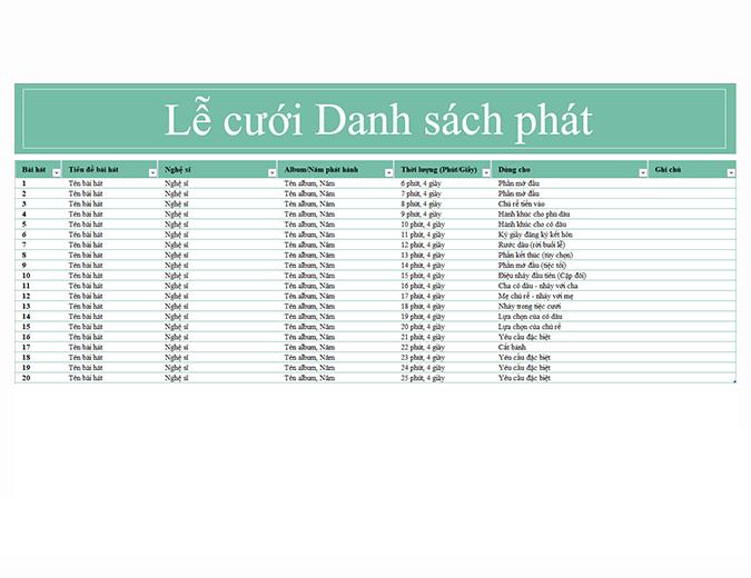 Danh sách phát trong đám cưới