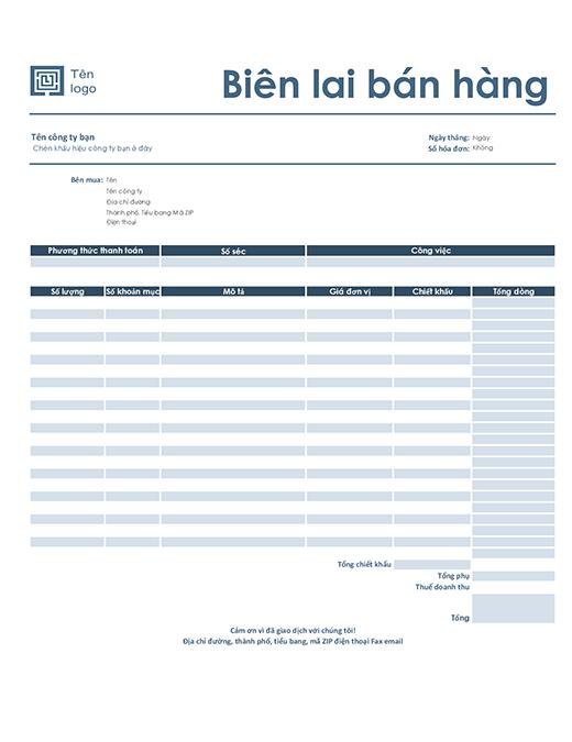 Biên lai bán hàng (thiết kế xanh lam đơn giản)