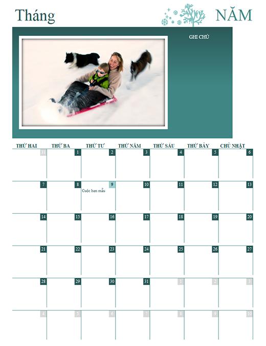 Lịch gia đình theo mùa (mọi năm, T2-CN)