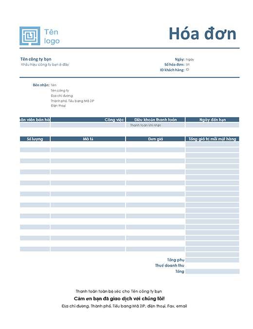 Hóa đơn dịch vụ (thiết kế màu lam đơn giản)