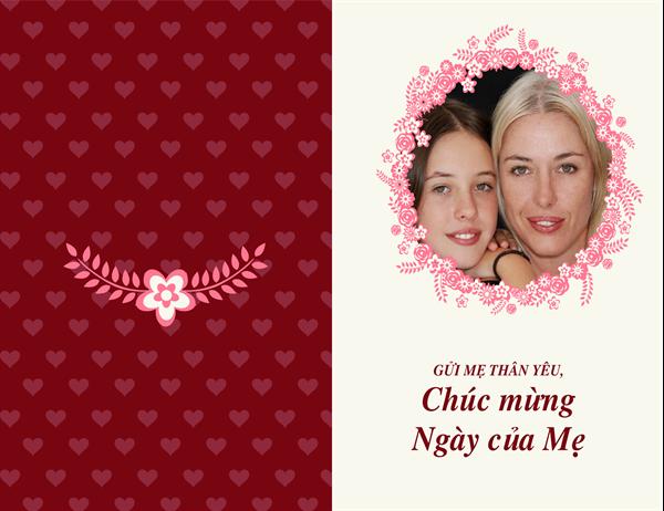 Thiệp viền hoa vào Ngày của mẹ