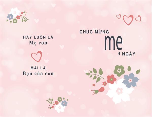 Thiệp xinh đẹp với màu hồng vào Ngày của mẹ