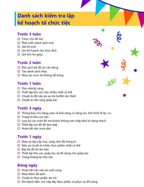 Danh sách kiểm tra lập kế hoạch tổ chức tiệc
