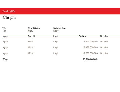 Sổ nhật ký chi phí