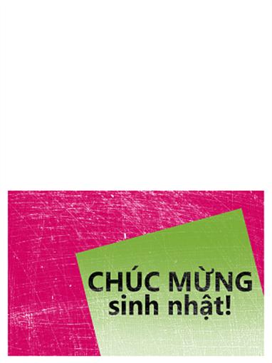 Thiệp sinh nhật, nền có vết khắc (hồng, xanh lá, gấp đôi)