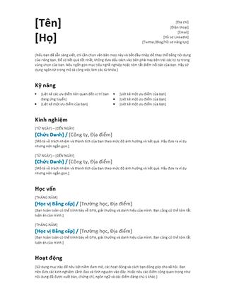 Hồ sơ cá nhân kiểu Cân bằng (Thiết kế hiện đại)