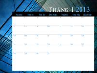 Lịch 2013 (thứ Hai- Chủ Nhật)