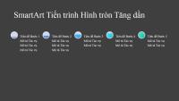 Bản trình chiếu SmartArt Tiến trình Hình tròn tăng dần (màu xám và lam trên nền đen), màn hình rộng