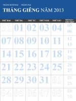 Lịch 2013-2014, nhiều màu (T2-CN)