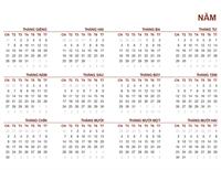 Lịch chung cả năm