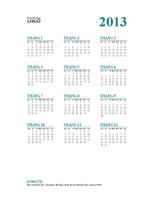 Lịch 1 tờ 12 tháng của năm 2013 (định dạng T2-CN)