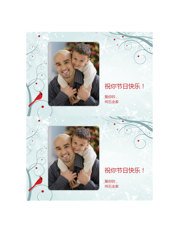 雪花图案节日照片卡(每页两张)