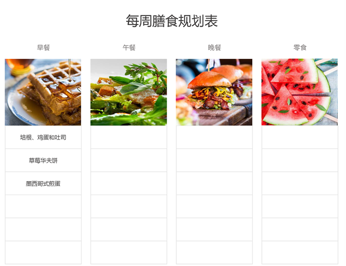 简单膳食规划表