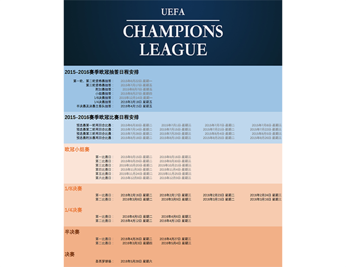 欧冠联赛赛事安排