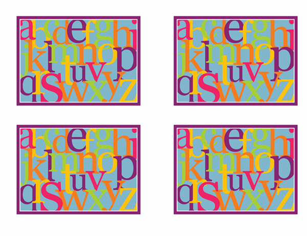 字母闪光卡(背面;与 Avery 3263、8387 配套使用)